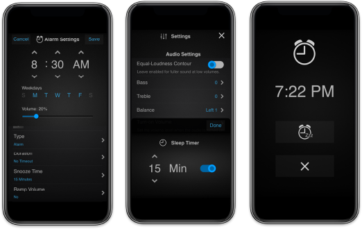 myRussound alarm and schedule screens