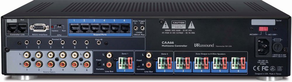 Russound CAA66L 6 Zone Multiroom Controller Amplifier with Keypads